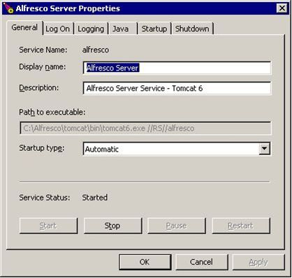 Tomcat server service control general settings