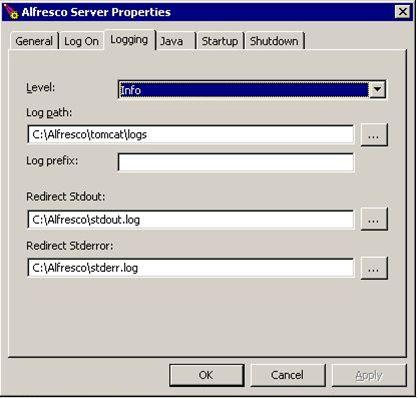 Tomcat server service control logging properties