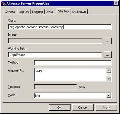 Tomcat server service startup properties